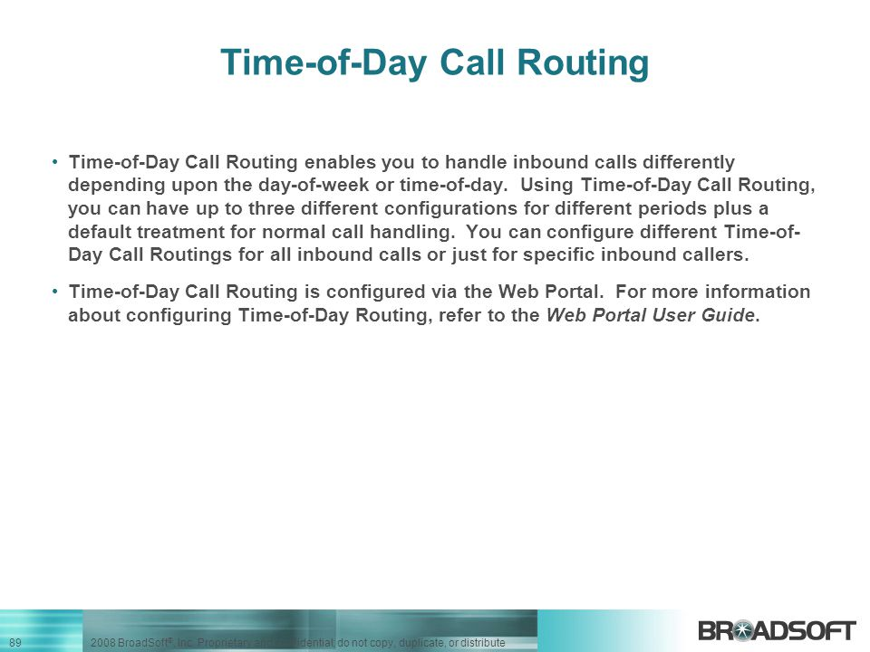 Time-of-Day Call Routing
