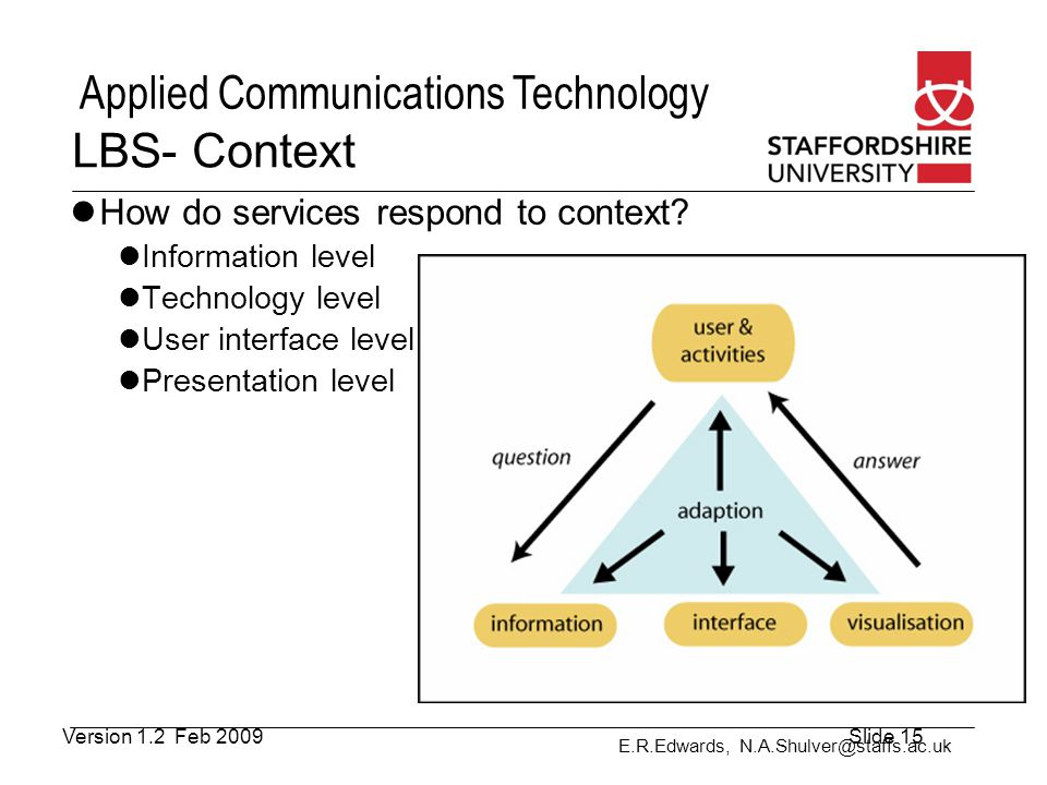 LBS- Context How do services respond to context Information level