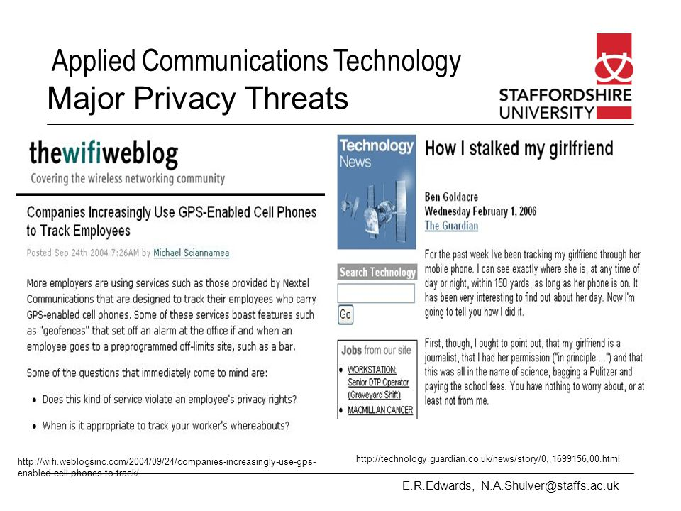 Major Privacy Threats http://technology.guardian.co.uk/news/story/0,,1699156,00.html.