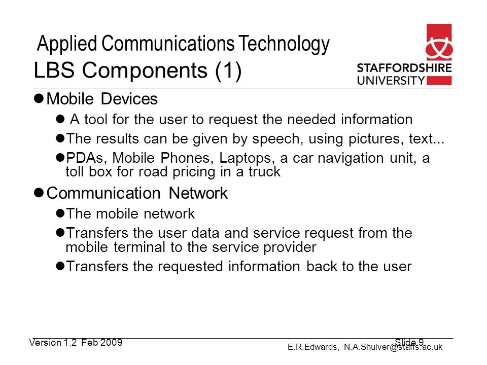 LBS Components (1) Mobile Devices Communication Network
