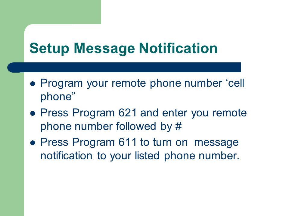 Setup Message Notification