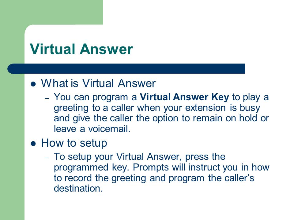 Virtual Answer What is Virtual Answer How to setup