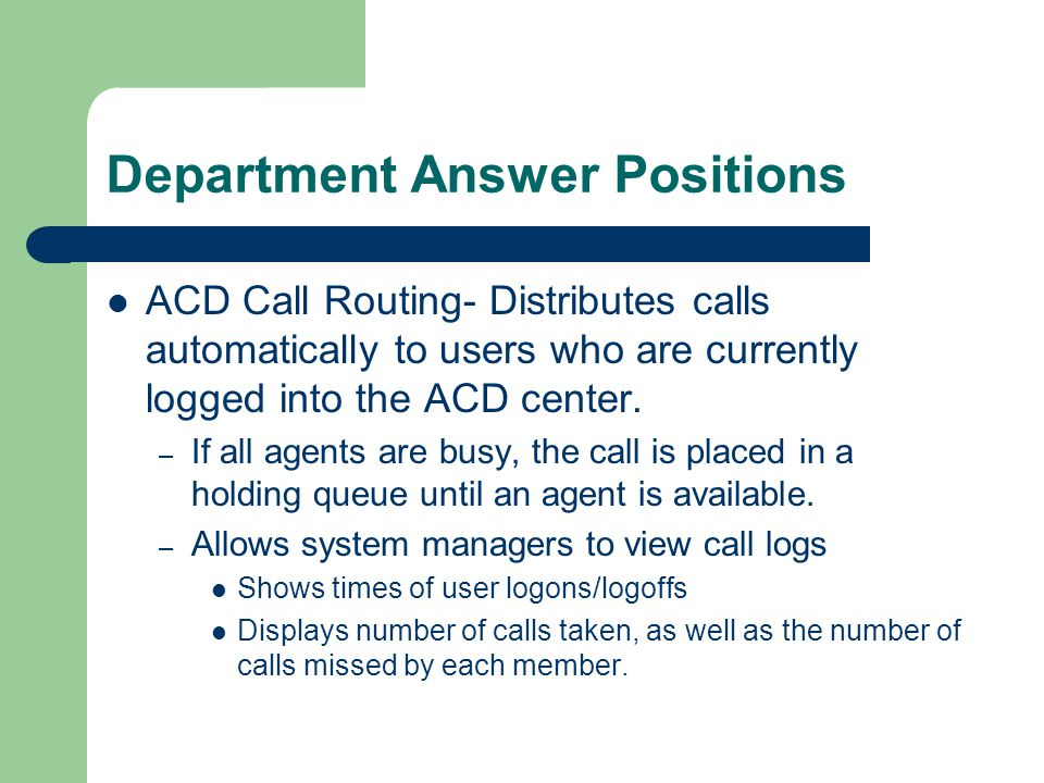 Department Answer Positions