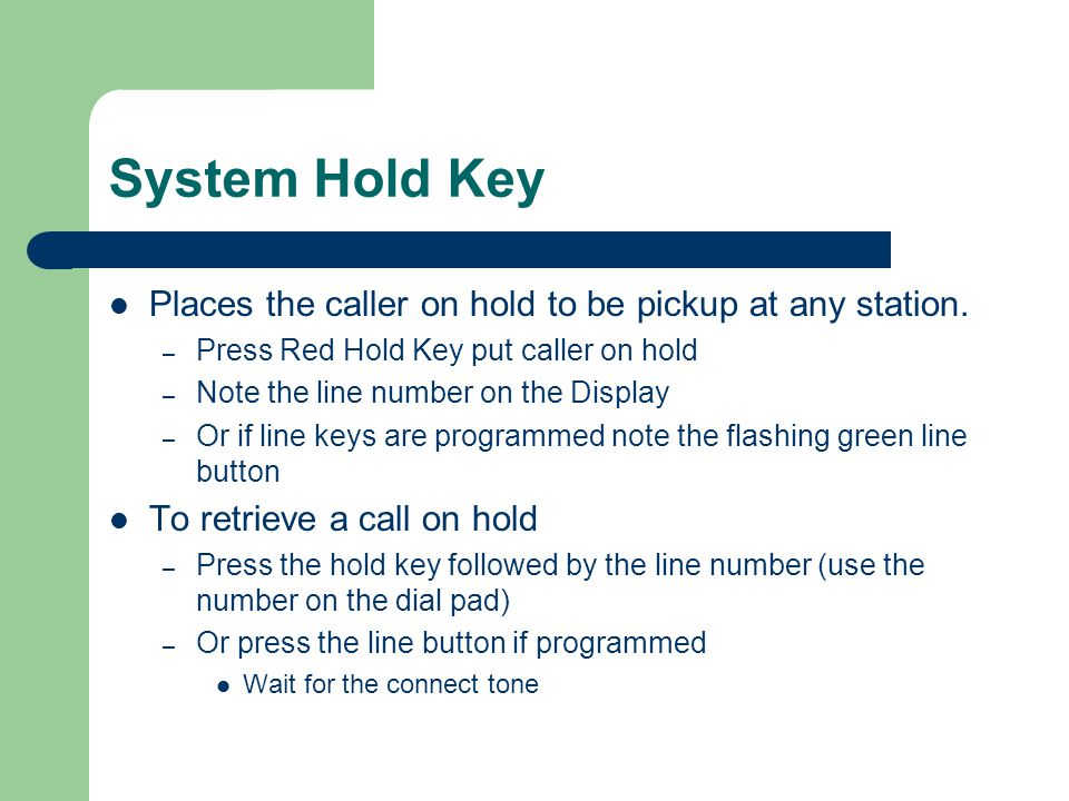 System Hold Key Places the caller on hold to be pickup at any station.