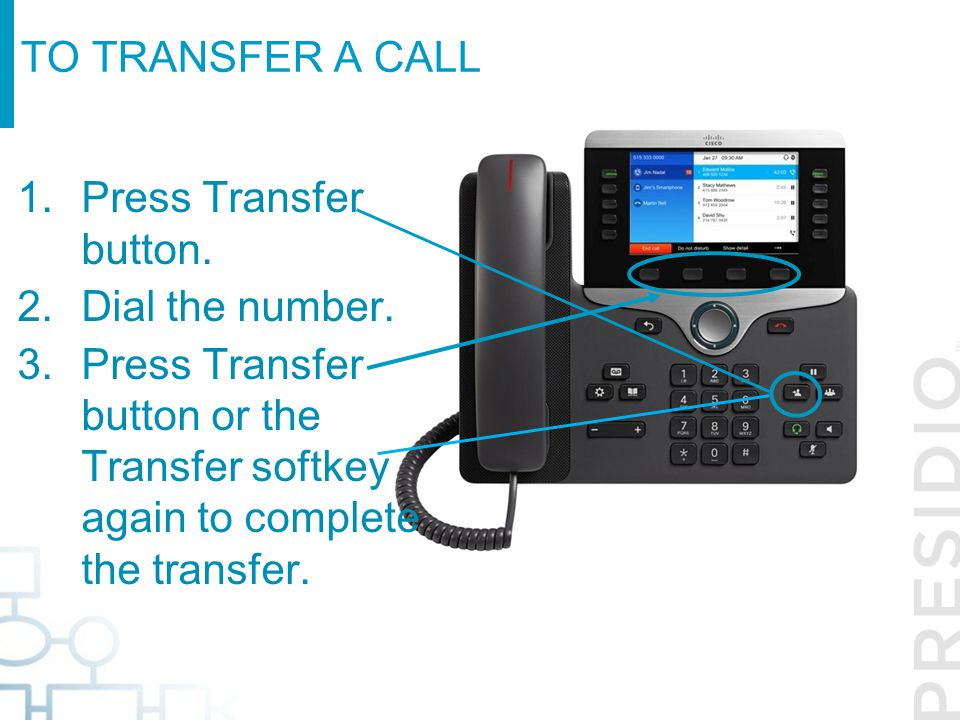 To transfer a call Press Transfer button. Dial the number.