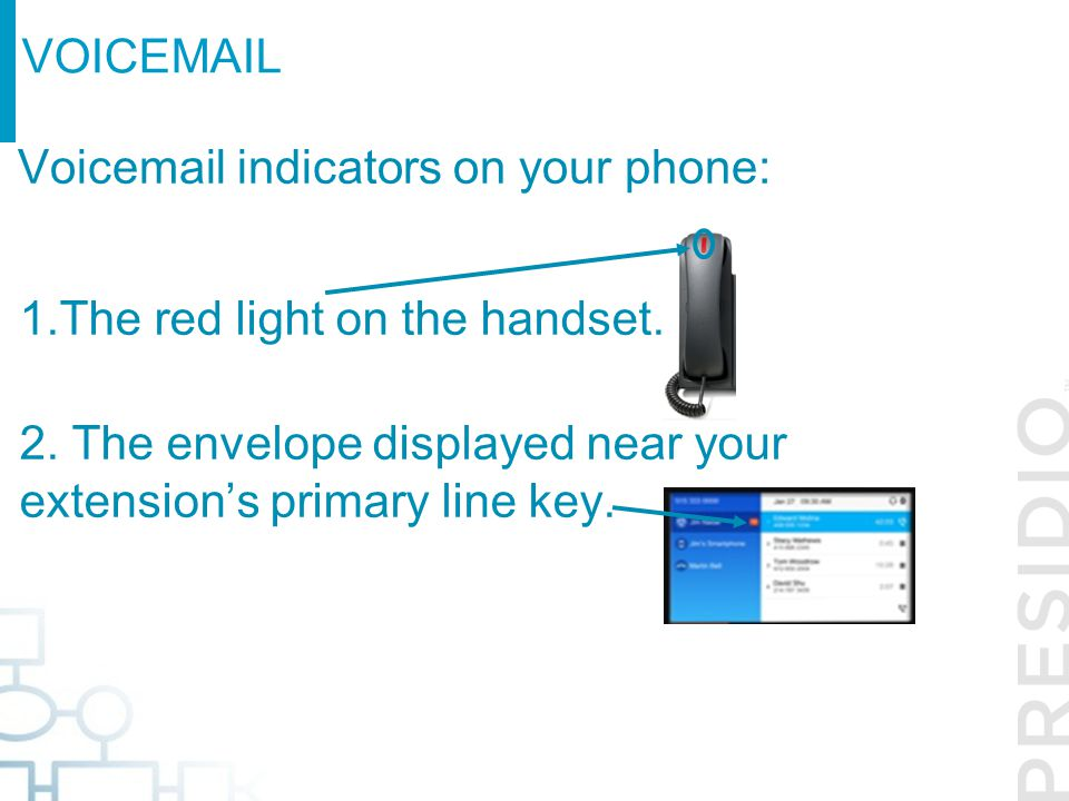 Voicemail indicators on your phone: