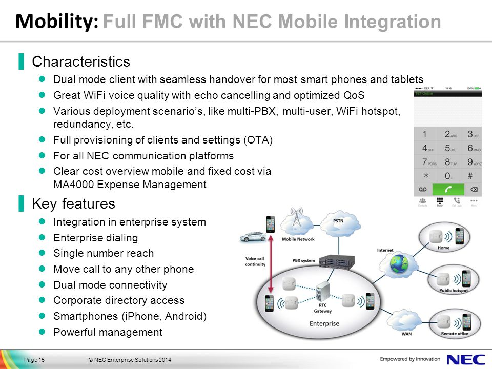 Mobility: Full FMC with NEC Mobile Integration