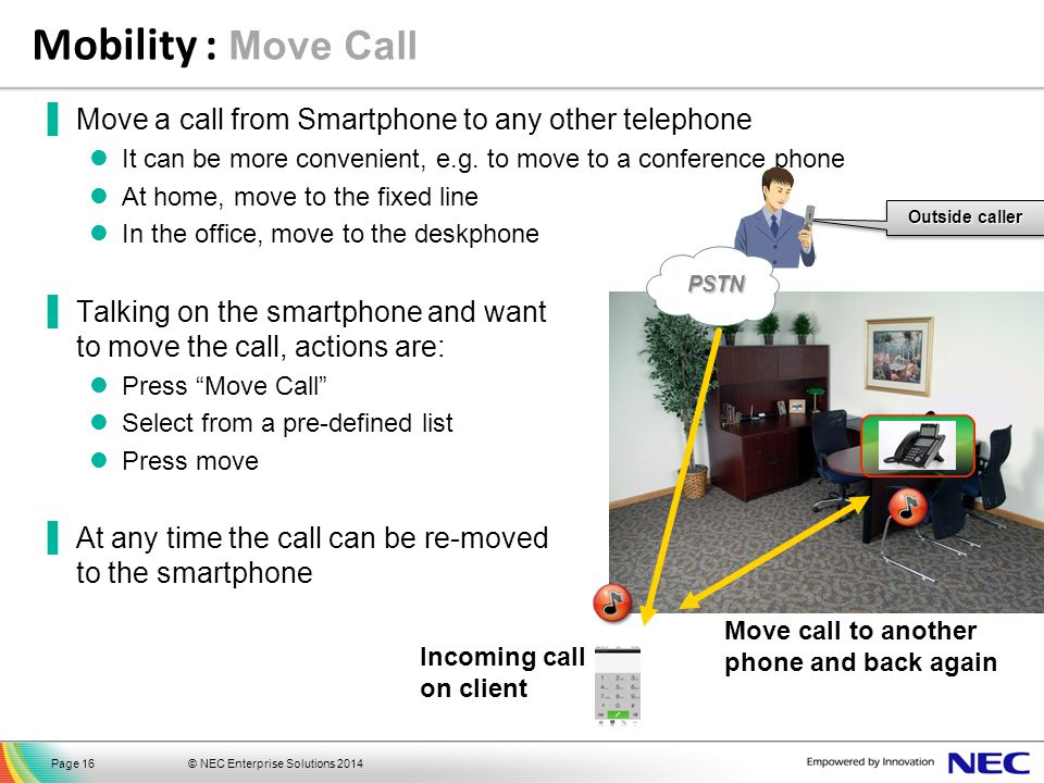 Mobility : Move Call Move a call from Smartphone to any other telephone. It can be more convenient, e.g. to move to a conference phone.