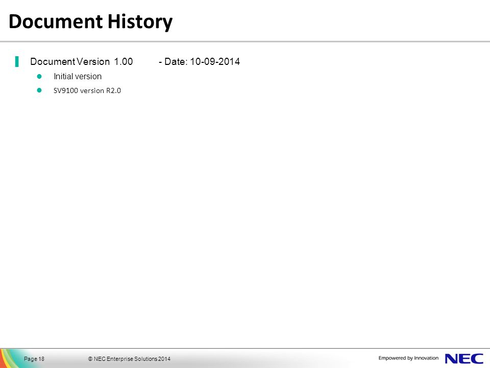 Document History Document Version 1.00 - Date: 10-09-2014