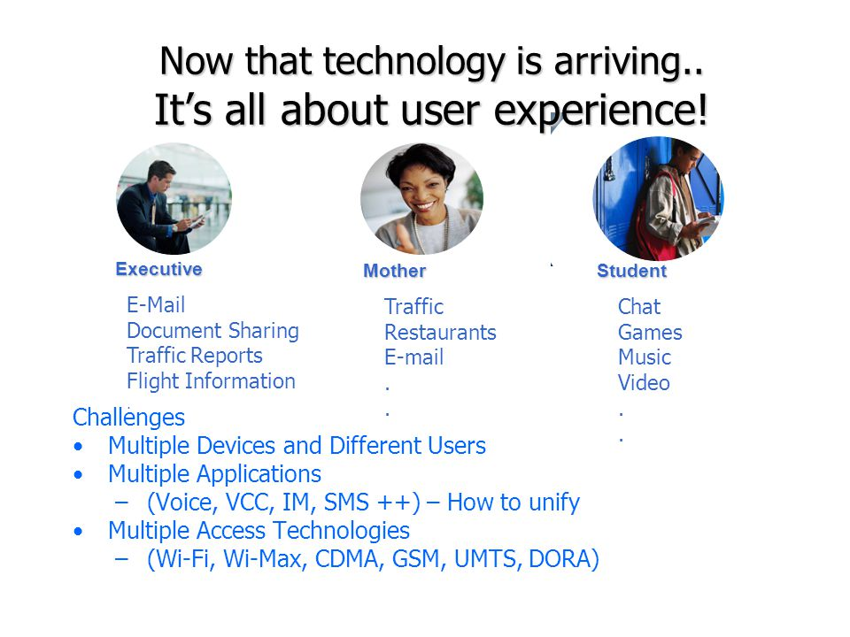 Now that technology is arriving.. It's all about user experience!