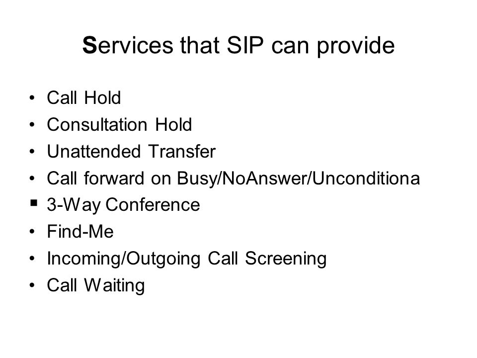 Services that SIP can provide