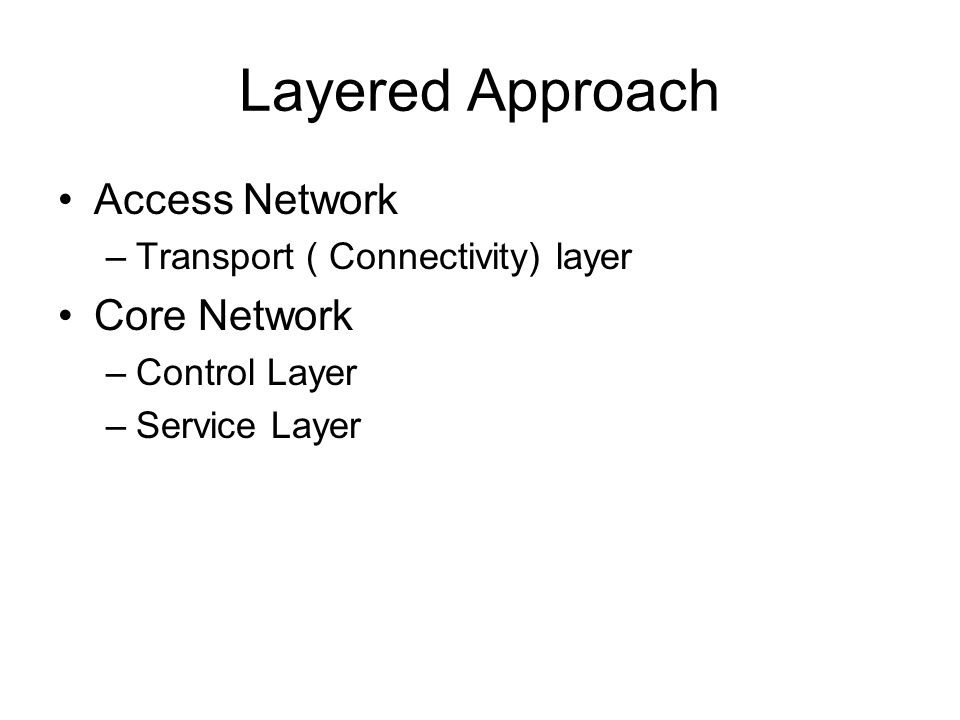 Layered Approach Access Network Core Network
