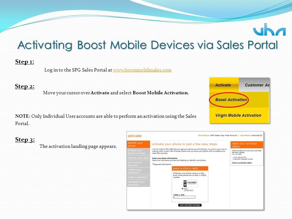 Activating Boost Mobile Devices via Sales Portal