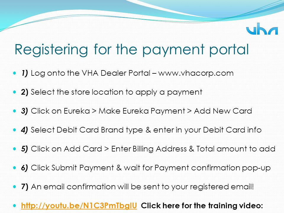 Registering for the payment portal