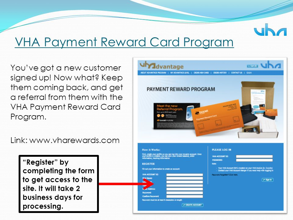 VHA Payment Reward Card Program