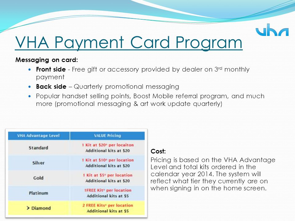 VHA Payment Card Program