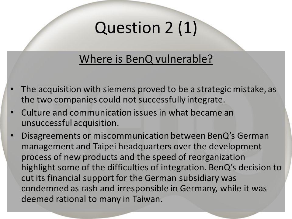 Where is BenQ vulnerable