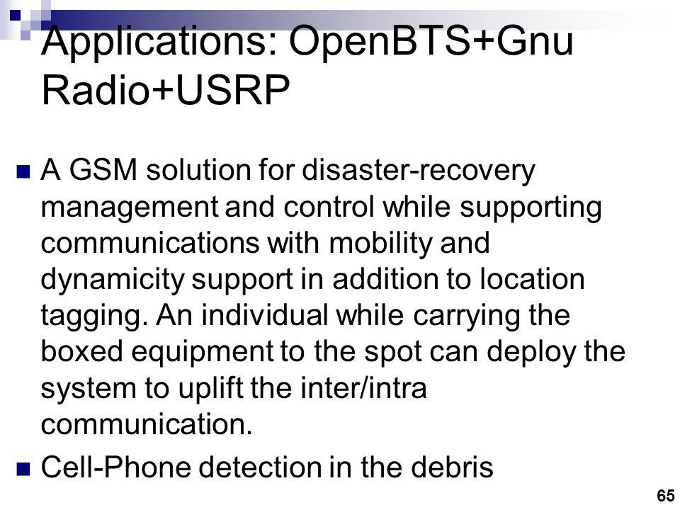 Applications: OpenBTS+GnuRadio+USRP