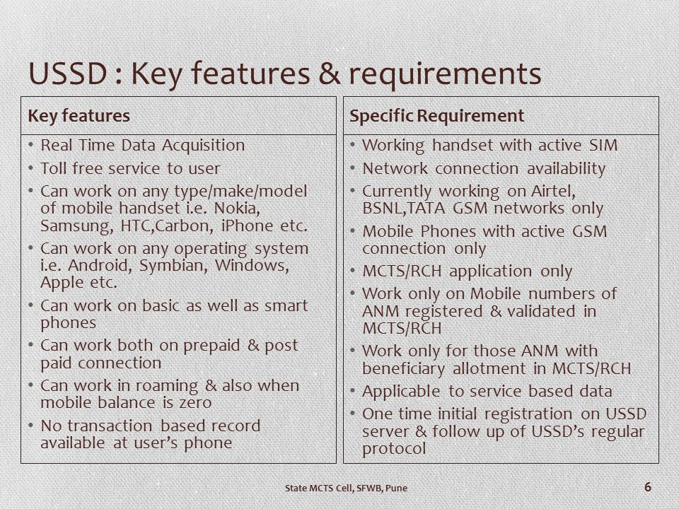 USSD : Key features & requirements