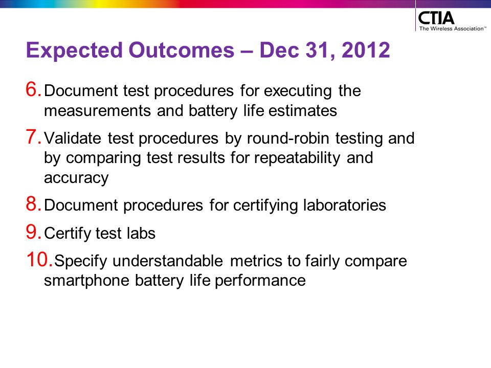 Expected Outcomes – Dec 31, 2012