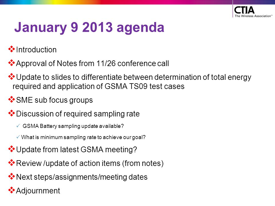 January 9 2013 agenda Introduction