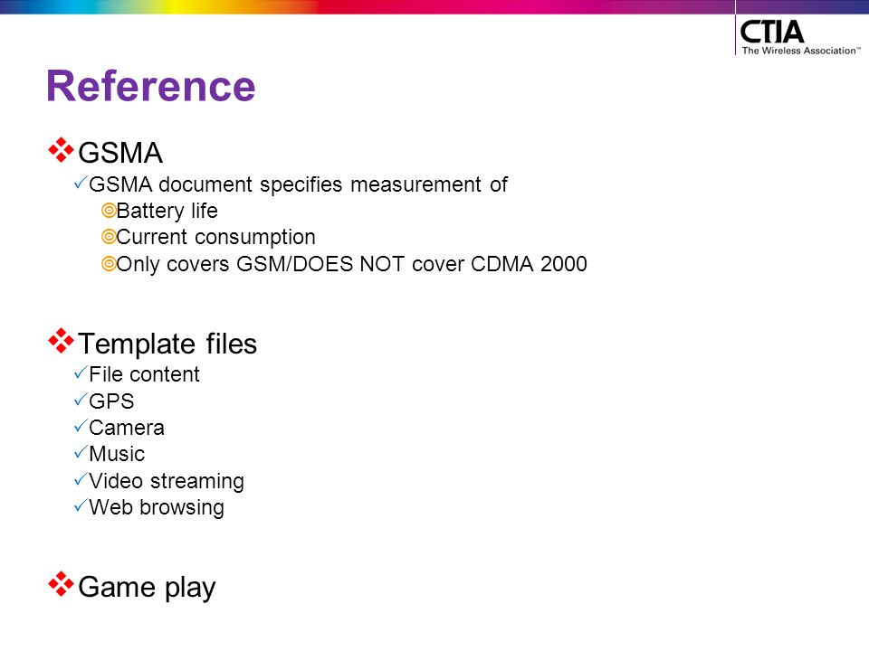 Reference GSMA Template files Game play