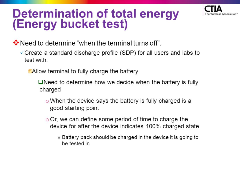 Determination of total energy (Energy bucket test)