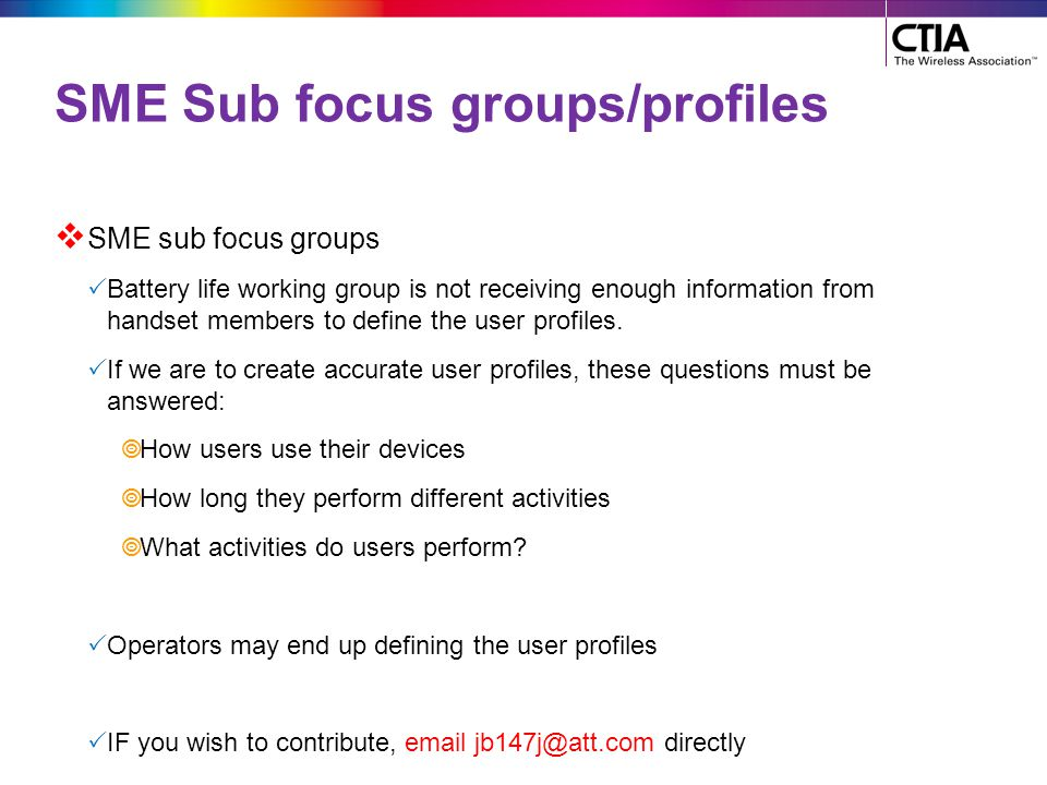 SME Sub focus groups/profiles