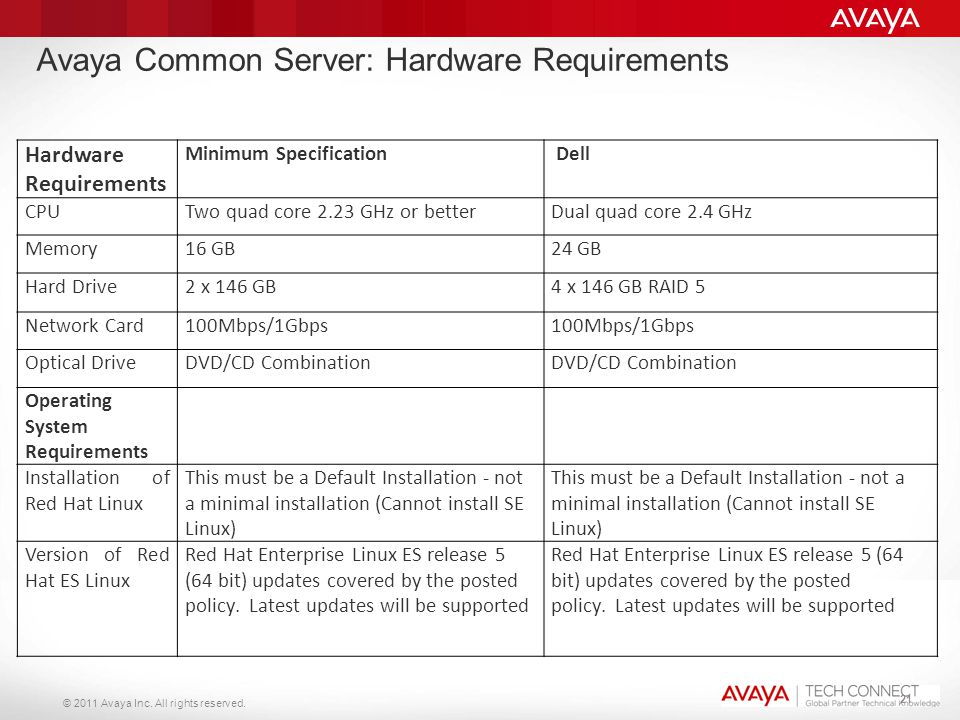 Avaya Common Server: Hardware Requirements