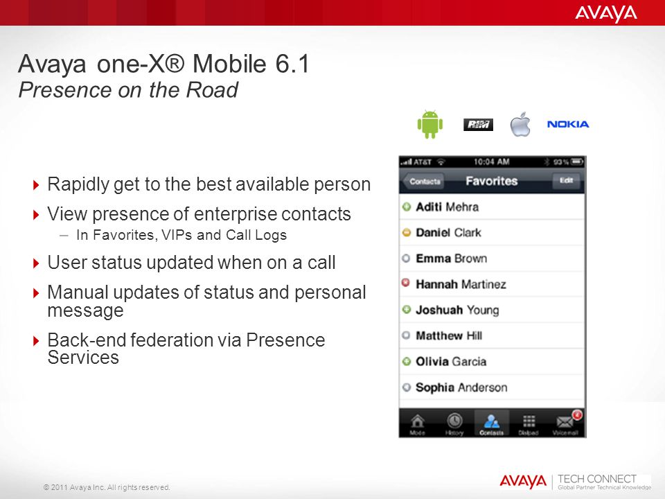 Avaya one-X® Mobile 6.1 Presence on the Road