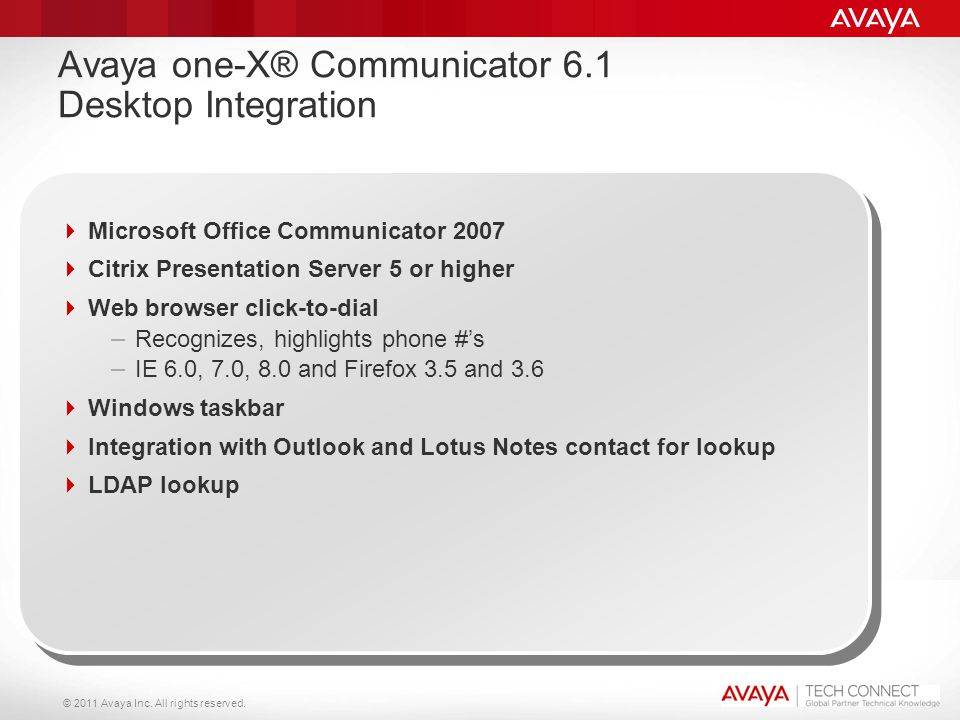 Avaya one-X® Communicator 6.1 Desktop Integration