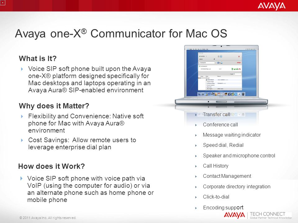 Avaya one-X® Communicator for Mac OS