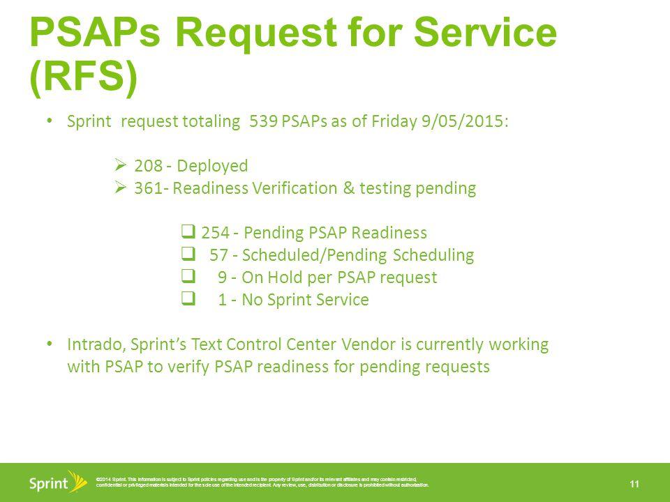 PSAPs Request for Service (RFS)