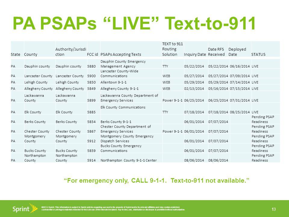 PA PSAPs LIVE Text-to-911