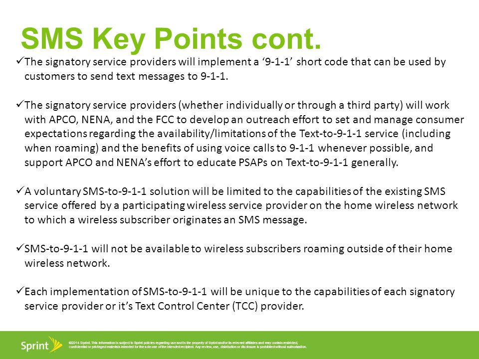 SMS Key Points cont.