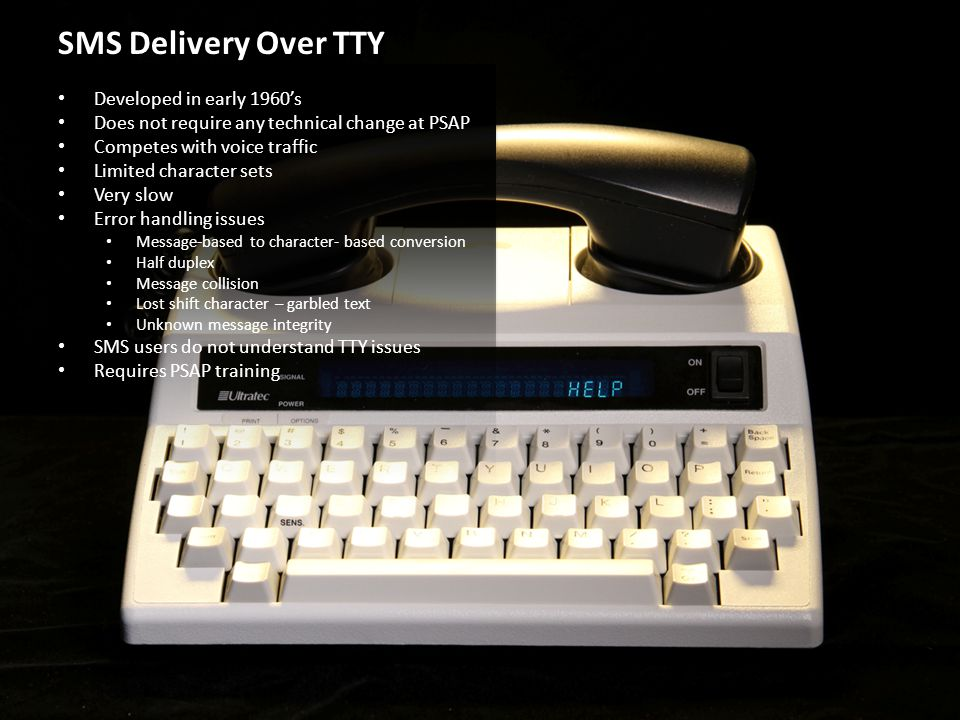 SMS Delivery Over TTY Developed in early 1960's