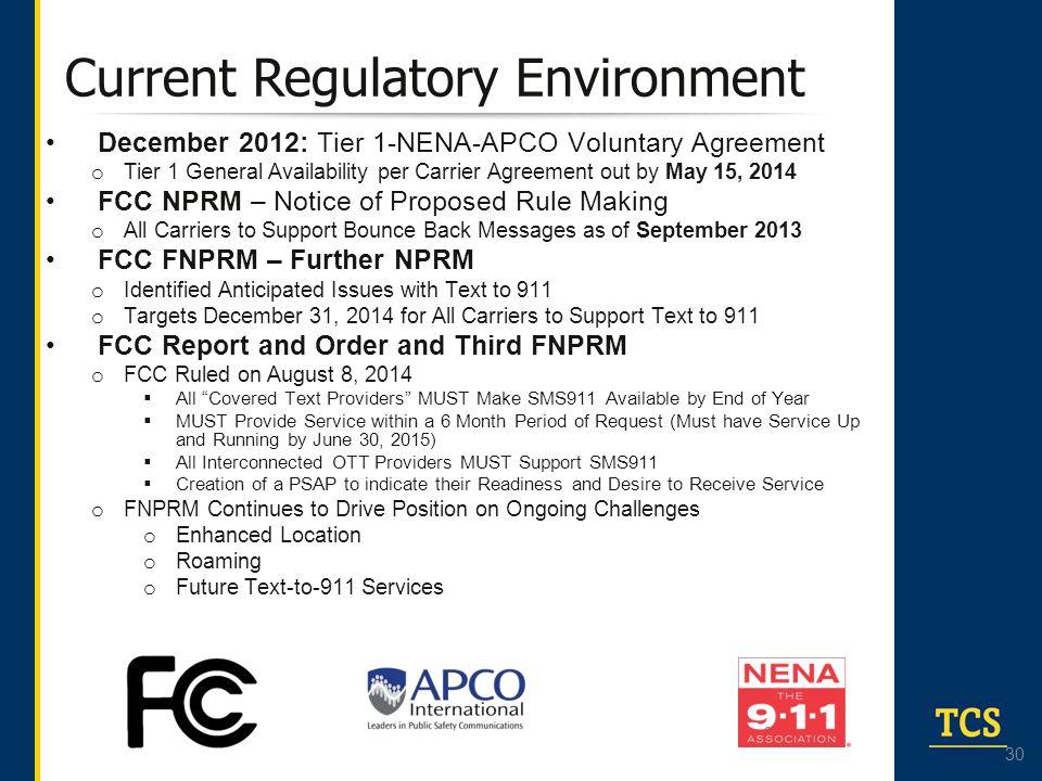 Current Regulatory Environment
