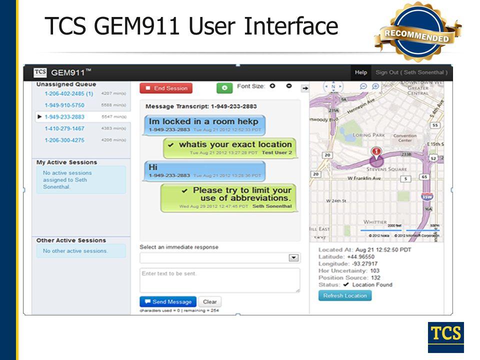 TCS GEM911 User Interface