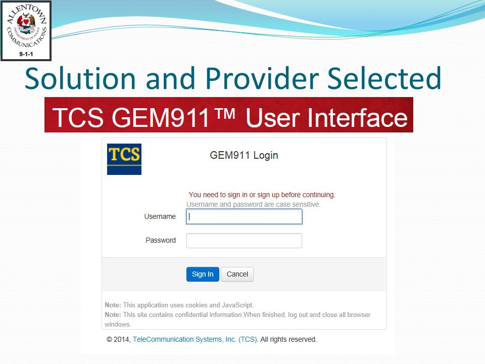 Solution and Provider Selected
