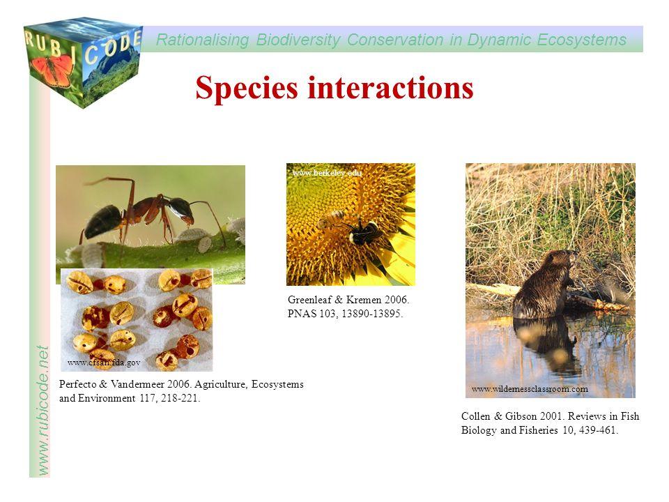 Species interactions Greenleaf & Kremen 2006. PNAS 103, 13890-13895.