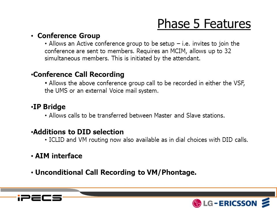 Phase 5 Features Conference Group Conference Call Recording