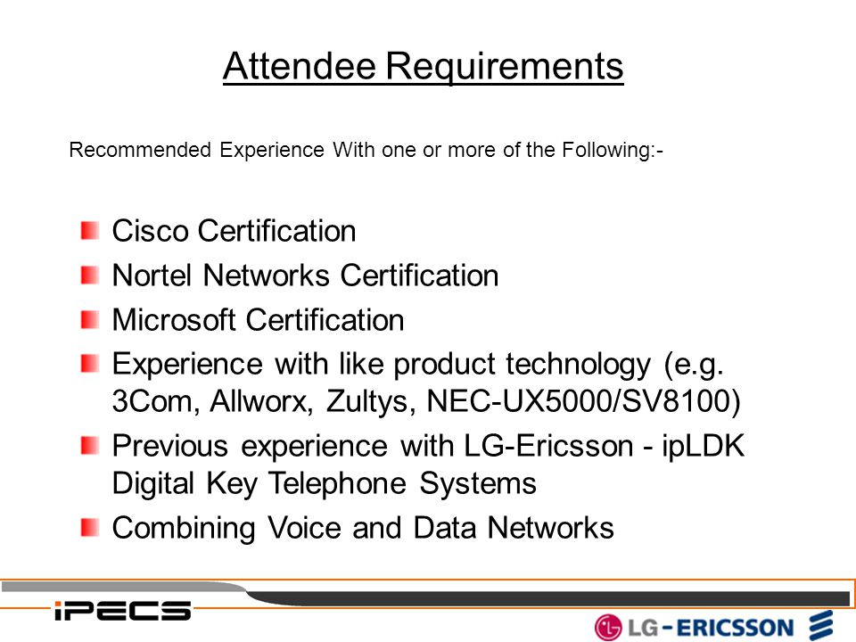 Attendee Requirements