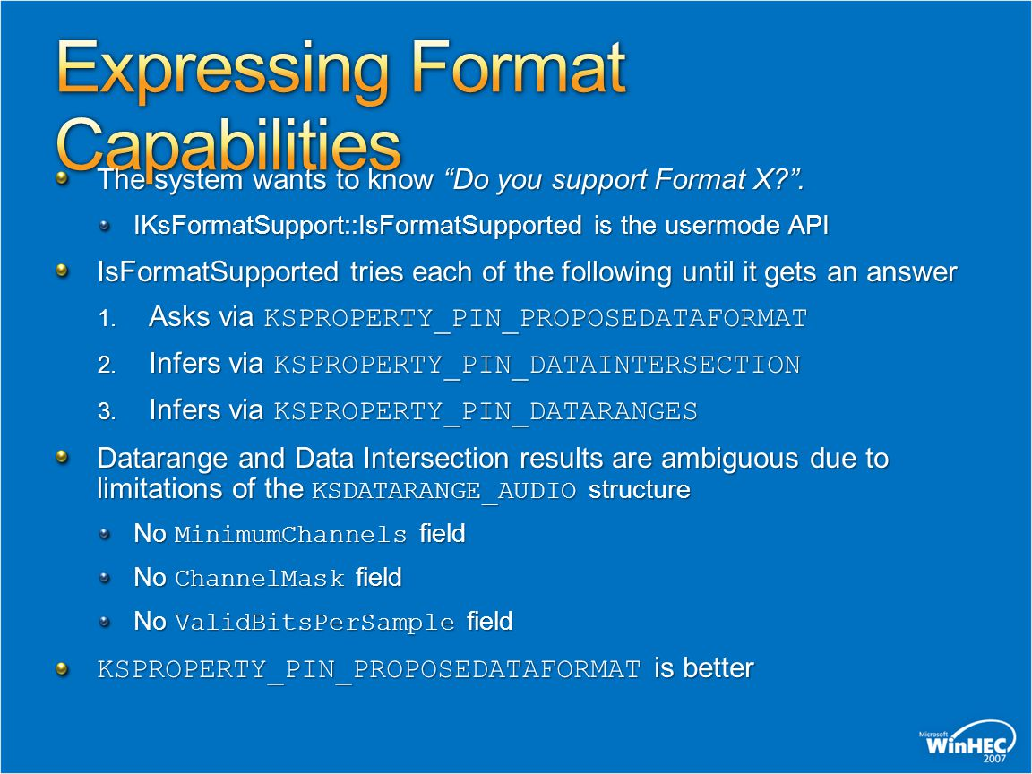 Expressing Format Capabilities