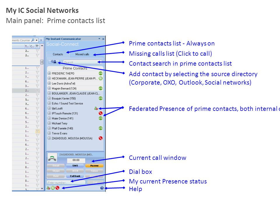 Main panel: Prime contacts list