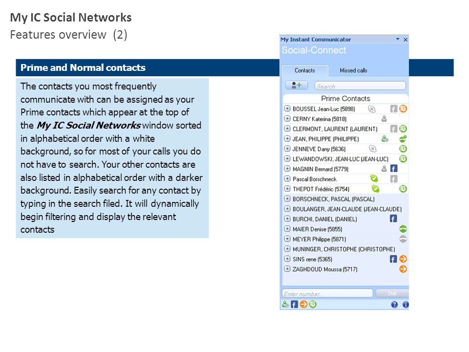 My IC Social Networks Features overview (2) Prime and Normal contacts