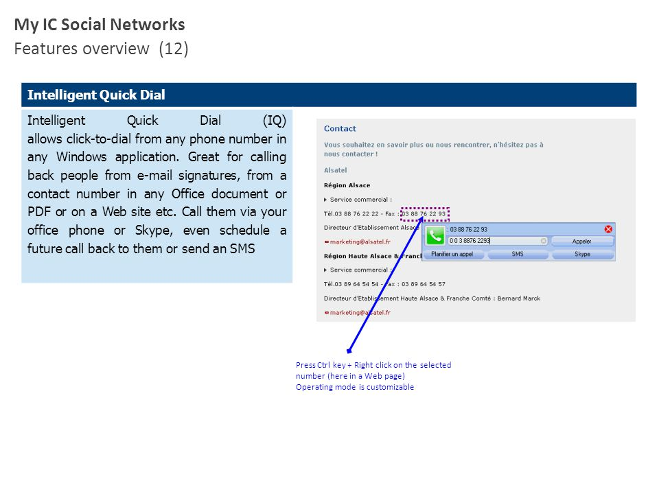 My IC Social Networks Features overview (12) Intelligent Quick Dial