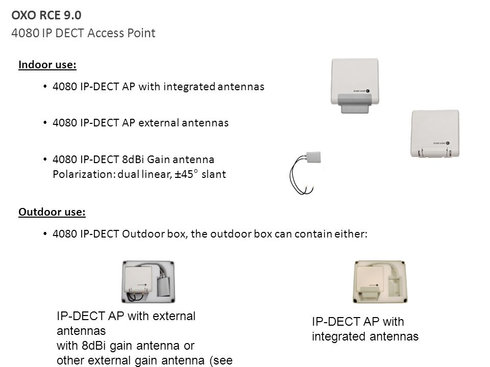 OXO RCE 9.0 4080 IP DECT Access Point Indoor use: