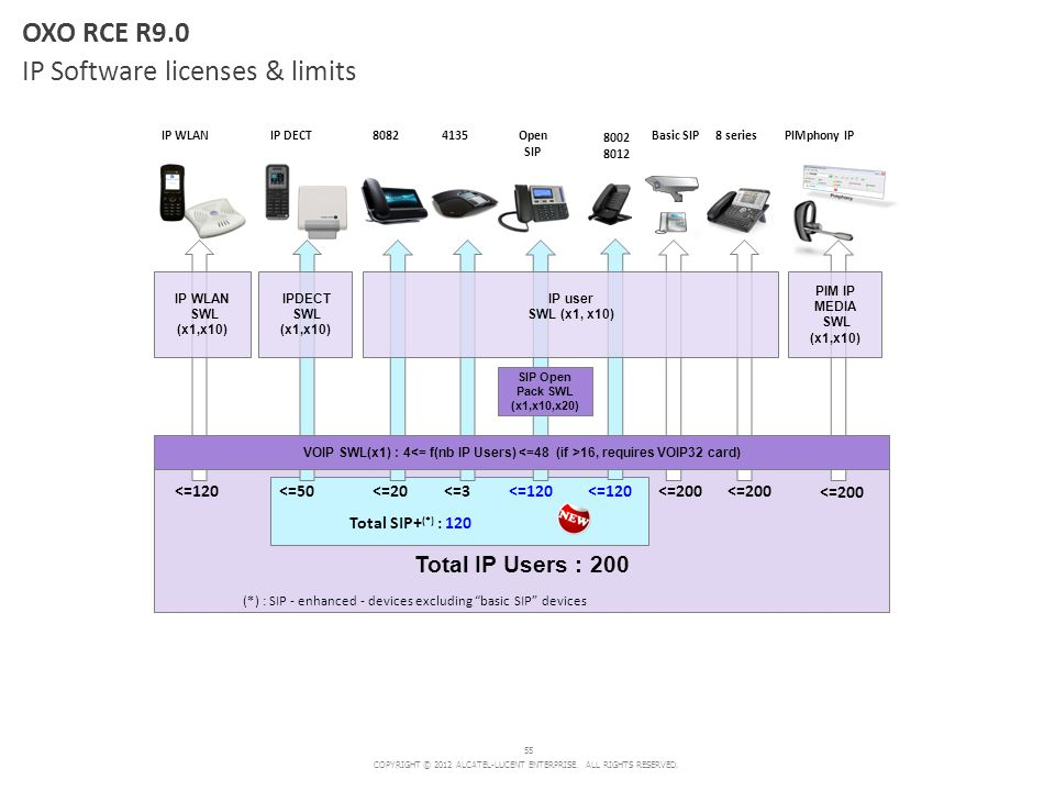 OXO RCE R9.0 IP Software licenses & limits