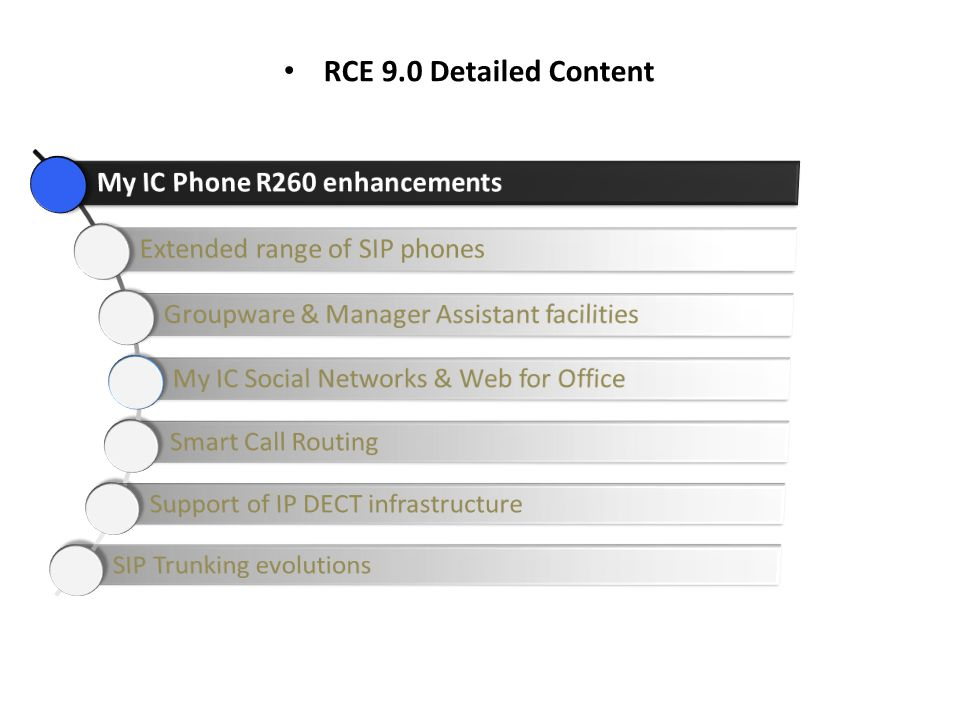 RCE 9.0 Detailed Content My IC Phone R260 enhancements
