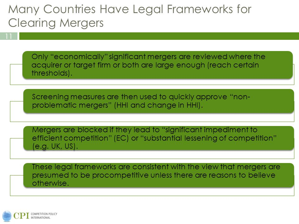 Many Countries Have Legal Frameworks for Clearing Mergers